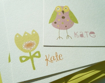 Owl and Flower Personalized Stationery and Sticker Gift Set