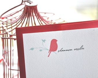 Little Red Bird on Branch Personalized Stationery and Sticker Gift Set
