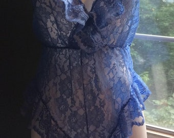 Blue lace teddy bodysuit periwinkle   pin up vintage medim from vintage opulence on Etsy