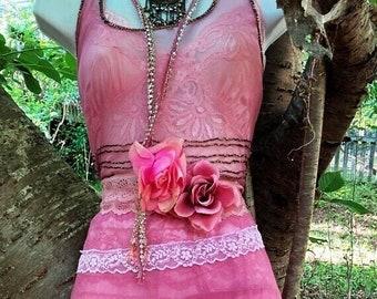 Fall Sale Pink beaded dress wedding boho outdoor fairytale sparkle small medium by vintage opuelnce on Etsy