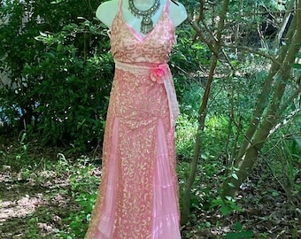 Pink sparkle dress wedding vintage cotton tiered maxi bohemian ethereal fairytale outdoor small by vintage opuelnce on Etsy