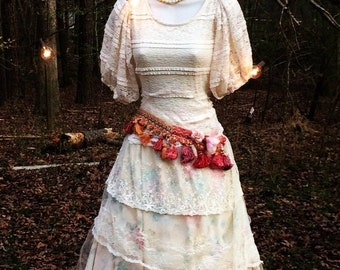 Lace floral dress wedding dress  tulle  ivory tassels  romantic boho antique  outdoor medium  by vintage opulence on Etsy