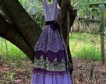 Purple beaded dress wedding lavender  boho outdoor fairytale sparkle small medium by vintage opuelnce on Etsy