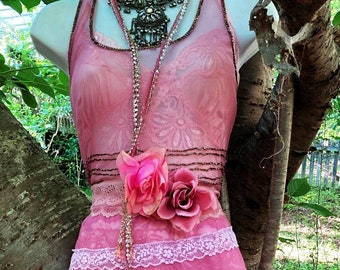 Pink beaded dress wedding boho outdoor fairytale sparkle small medium by vintage opuelnce on Etsy
