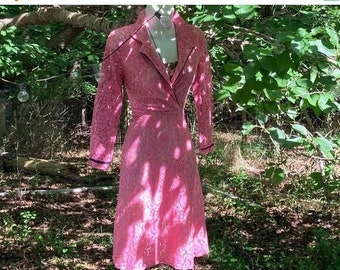 Fall Sale Pink lace dress 1960s fit and flare, shirtwaist cotton pin up 50s 60s small xs from Vintage Opulence on Etsy