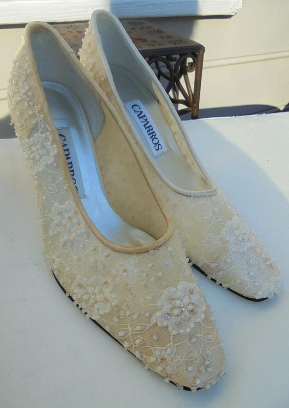 ea867640df3bb Beaded bridal shoes vintage Caparros cream ivory wedding bride 6 from  vintage opulence on Etsy