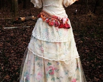 Fall Sale Lace floral dress wedding dress  tulle  ivory tassels  romantic boho antique  outdoor medium  by vintage opulence on Etsy