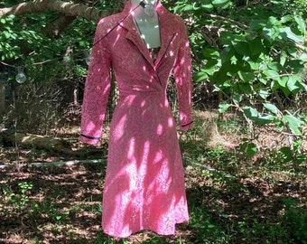 Pink lace dress 1960s fit and flare, shirtwaist cotton pin up 50s 60s small xs from Vintage Opulence on Etsy