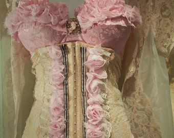 Ecru and pink lace burlesque cincher corset  roses Custom Made