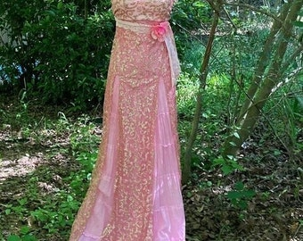 Fall Sale Pink sparkle dress wedding vintage cotton tiered maxi bohemian ethereal fairytale outdoor small by vintage opuelnce on Etsy