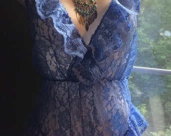 Fall Sale Blue lace teddy bodysuit periwinkle   pin up vintage medim from vintage opulence on Etsy