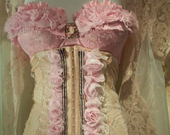 Fall Sale Ecru and pink lace burlesque cincher corset  roses Custom Made
