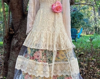 Fall Sale Floral lace dress wedding tiered tulle fairytale cream ivory  romantic boho antique  outdoor  small  by vintage opulence on Etsy
