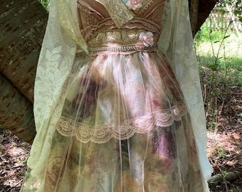 Fall Sale Floral tulle  dress wedding tiered fairytale tea stained  romantic boho antique  outdoor  small  by vintage opulence on Etsy