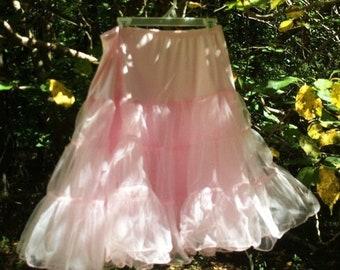 Fall Sale Pink petticoat slip skirt  crinoline vintage 50's  60s   pin up cosplay romantic, medium  from vintage opulence on Etsy