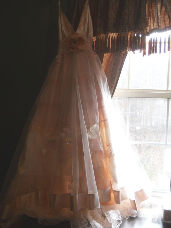 Reserved for Eliza Blush deposit for custom blush wedding dress  custom size  by vintage opulence on Etsy