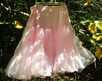 Pink petticoat slip skirt  crinoline vintage 50's  60s   pin up cosplay romantic, medium  from vintage opulence on Etsy