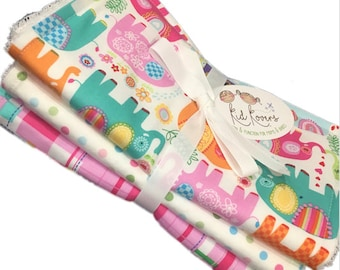 """Pink Happy Elephant, pastel dot, and Madras, Set of 3 Burp Cloths, 10x20"""" absorbent cotton Terry cloth."""
