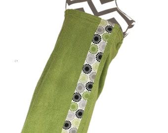 Lime Concentric Circles Towel Wrap