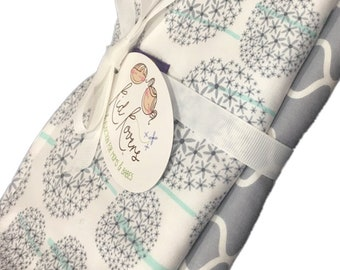 "Dandelions and Grey Quatrefoil, Set of 2 Burp Cloths, 10x20"" absorbent cotton Terry cloth."