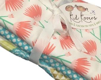 "Tumbling Blooms, Aqua Dot and Julianne, Set of 3 Burp Cloths, 10x20"" absorbent cotton Terry cloth."