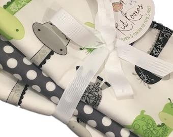 "Cute Lime Giraffes and Grey Dot Set of 3 Burp Cloths, 10x20"" absorbent cotton Terry cloth."