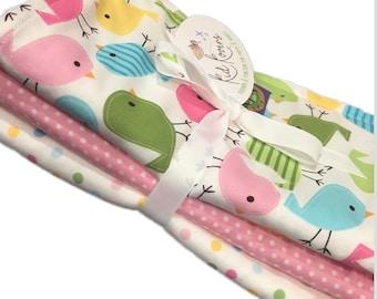 "Cute Birds, Pink Dot and Pastel Dot. Set of 3 Burp Cloths. 10x20"" absorbent cotton Terry cloth."
