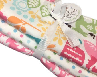 """Watermelon Wildlife, Pastel Dots, and Pink Damask. Set of 3 Burp Cloths. Absorbent cotton Terry cloth. 10x20"""""""
