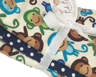 """Cute Blue Monkeys 2 and 1 white and navy dot burp cloth. Set of 3. 10x20"""" absorbent cotton Terry cloth."""
