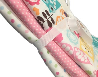"""Watermelon Wildlife, pastel dot and pink dot, Set of 3 Burp Cloths, 10x20"""" absorbent cotton Terry cloth."""