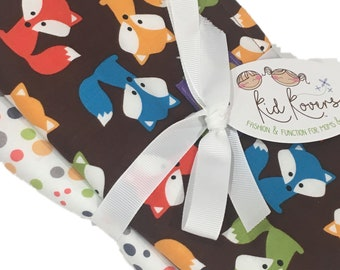"""Foxes with Nature Dots. Set of 3 Burp Cloths. 10x20"""" absorbent cotton Terry cloth"""
