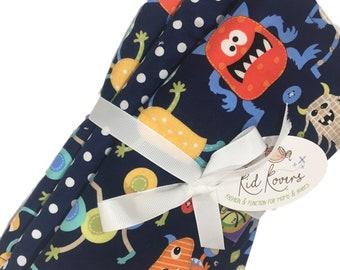 "Cute Monsters & Navy Dot, Set of 3 Burp Cloths, 10x20"" absorbent cotton Terry cloth."