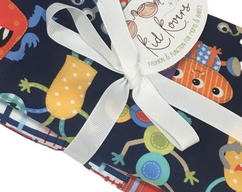 """Cute Monsters and Madras, Set of 2 Burp Cloths, 10x20"""" absorbent cotton Terry cloth."""