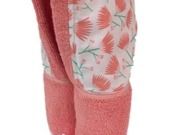 Tumbling Blooms Coral Hooded Towel