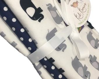 """Navy and Grey Elephants and Navy Dot, Set of 3 Burp Cloths, 10x20"""" absorbent cotton Terry cloth."""