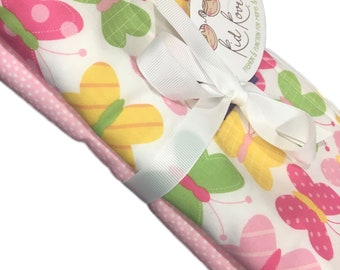 """Sweet Butterfly and Pink Dot, Set of 2 Burp Cloths, 10x20"""" absorbent cotton Terry cloth."""