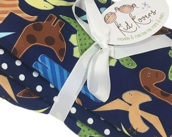 """Jurassic Dinos and Navy Dot, Set of 3 Burp Cloths, 10x20"""" absorbent cotton Terry cloth."""