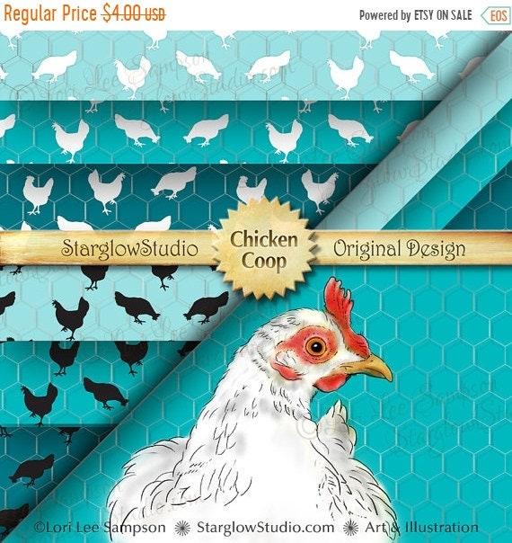FARM SALE Digital Paper: Chicken Silhouettes & Hen on Chicken