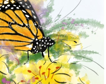 Butterfly Clipart | Digital Download | Small Print |  Monarch Butterfly in Garden of Yellow Flowers | Nature Decor