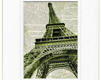 Eiffel Tower dictionary page print