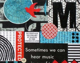 Original Mixed Media Abstract Collage by Kim Hambric - Music in a Cafe