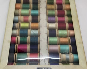 Vintage Coats and Clark's Display Box With 60 Wooden Spools of Thread
