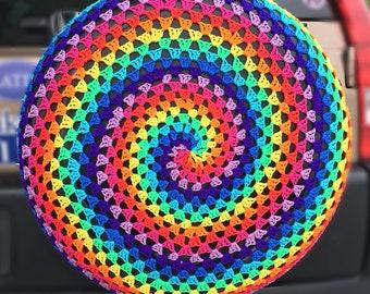 Hippie Tie-Dye Crochet Car Spare Tire Tyre Cover
