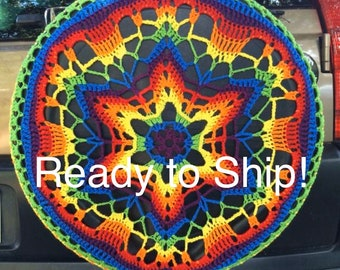 READY TO SHIP! Flower Power Colorful Crochet Circle Car Spare Tire Tyre Cover