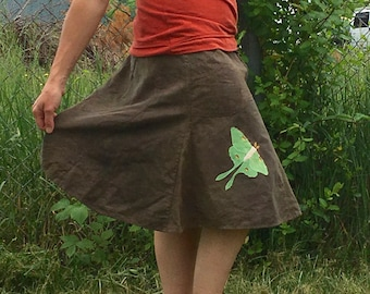 Functionally Flirty Luna moth skirt hemp organic cotton