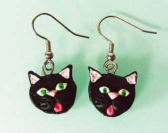 Black Cat Earrings - Kitty Dangle earring -