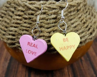Conversation Heart Earrings - Valentine's Day Gift for Woman - Fun Candy Jewelry - Lightweight Dangle Earrings - Pastel Colors - Polymer