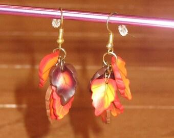 Autumn Leaves Dangle Earrings - Fall Leaves Earrings - Green Leaf Earrings - Harvest Jewelry - Thanksgiving Accessories - Leaf Drop Earring