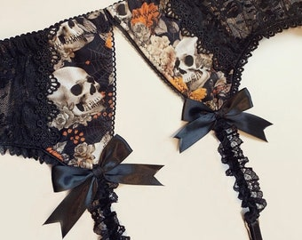 Black Lace Halloween Floral Skull Garter Belt with Metallic Rose Gold Accents - Pick Your Size