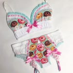 Light Turquoise Donut Bra with Vintage Lace Accents - Pick Your Size - Handmade Vegan Bridal